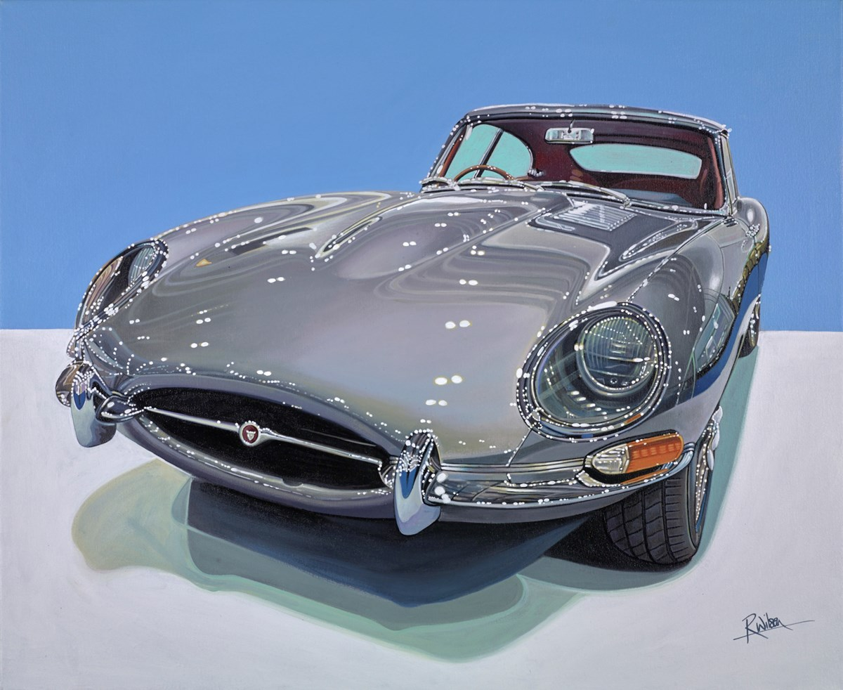 1966 Jaguar E-Type by roz wilson -  sized 34x28 inches. Available from Whitewall Galleries